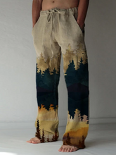 Load image into Gallery viewer, Men's Forest Print cotton linen Casual Pants