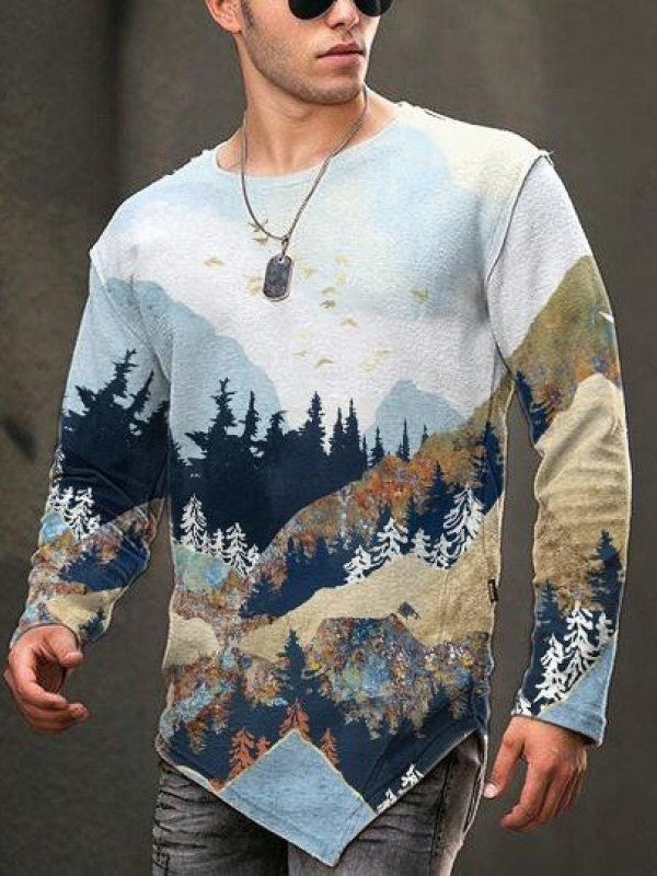 Men's mountain treetop element casual T-shirt
