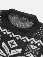 Load image into Gallery viewer, Mens Christmas Deer Knit Cotton Round Neck Slim Fit Pullover Sweaters