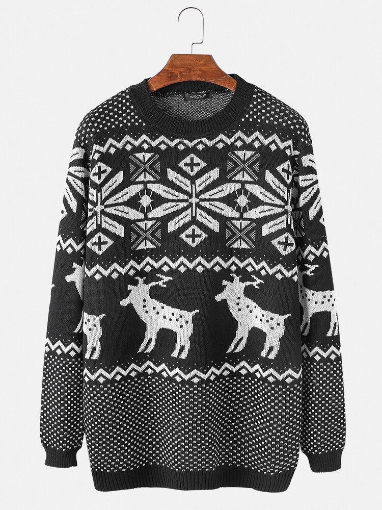 Mens Christmas Deer Knit Cotton Round Neck Slim Fit Pullover Sweaters