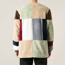 Load image into Gallery viewer, Men's casual fleece multicolor stitching round neck jacket