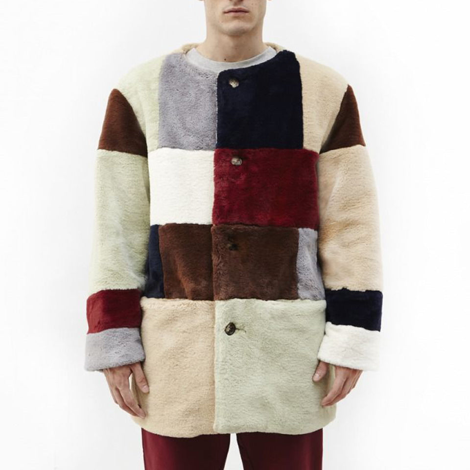 Men's casual fleece multicolor stitching round neck jacket