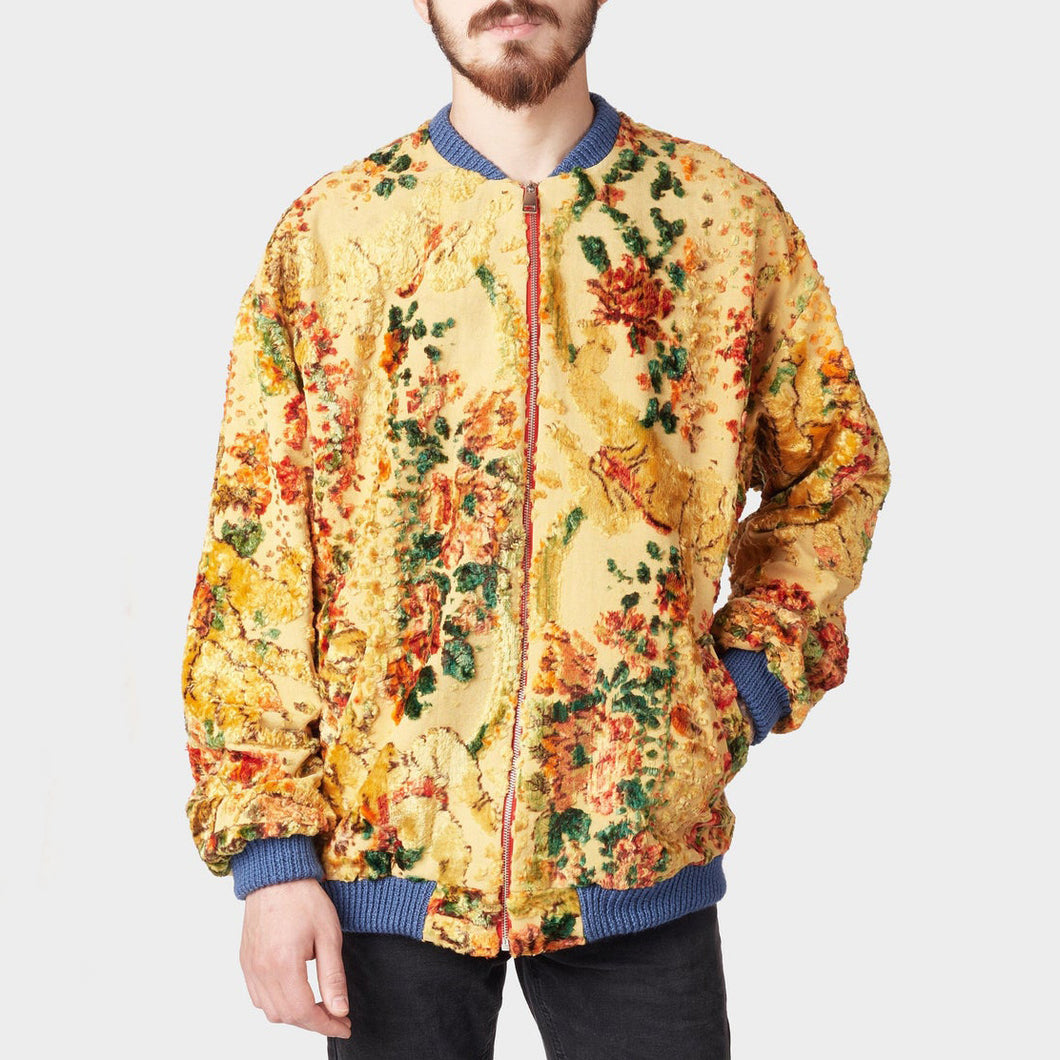 Men's casual tapestry style floral warm jacket