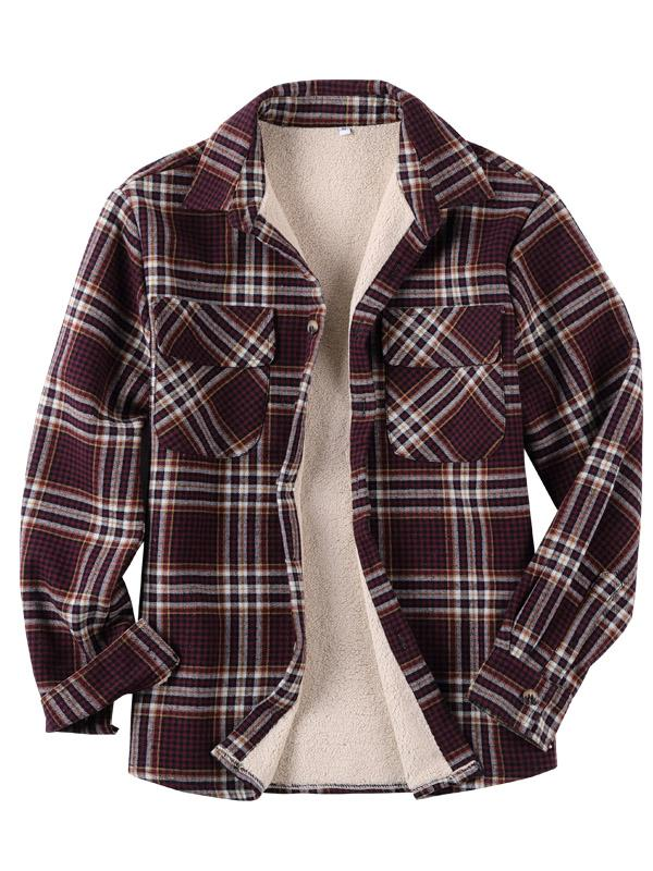 Casual Long Sleeves Lapel Plaid Lamb Cashmere Shirt