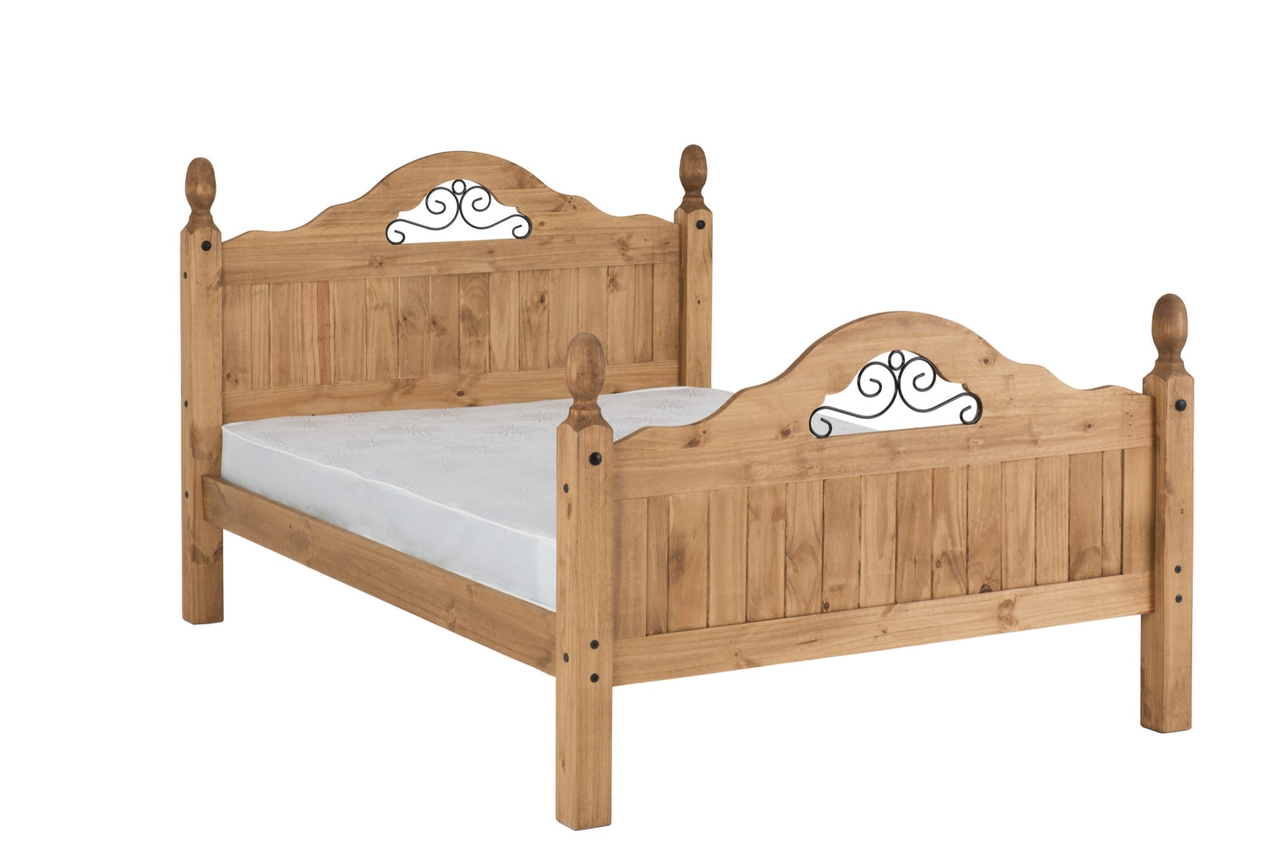 Corona bed frame high foot end double Scroll