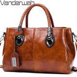 Ladies Vintage Oil Wax Leather Handbag