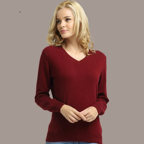 Long Sleeve V-Neck Cashmere Sweater