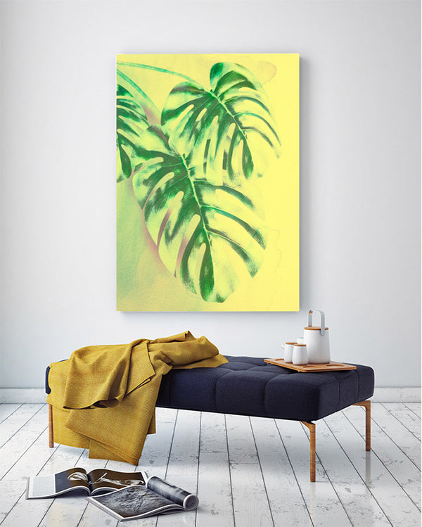 Palm Leves Pepper Stem Green Canvas Art