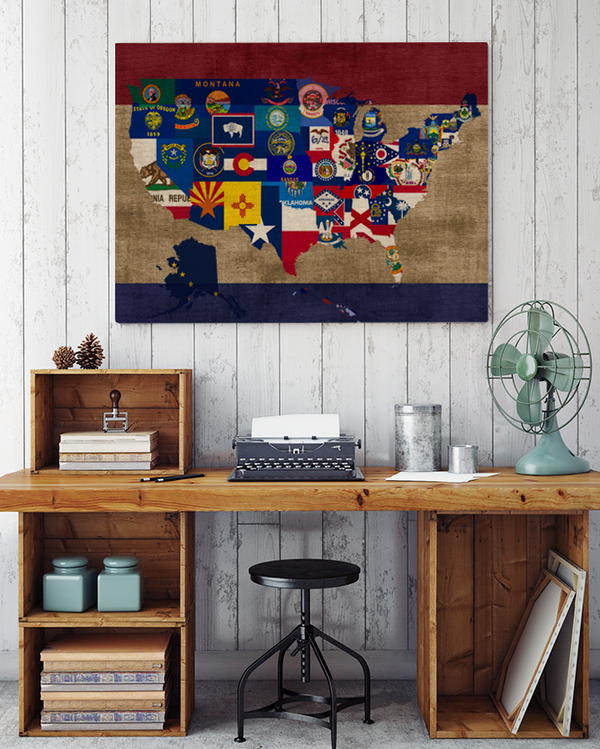 USA Map Canvas Art