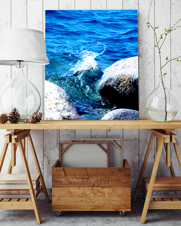 Crashing Beach Waters Photography Canvas Art