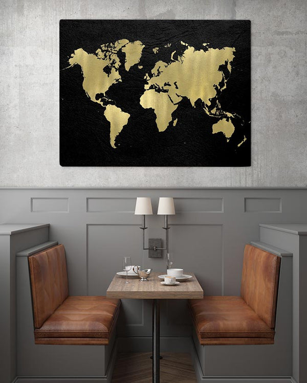 Black & Gold World Map Canvas Art