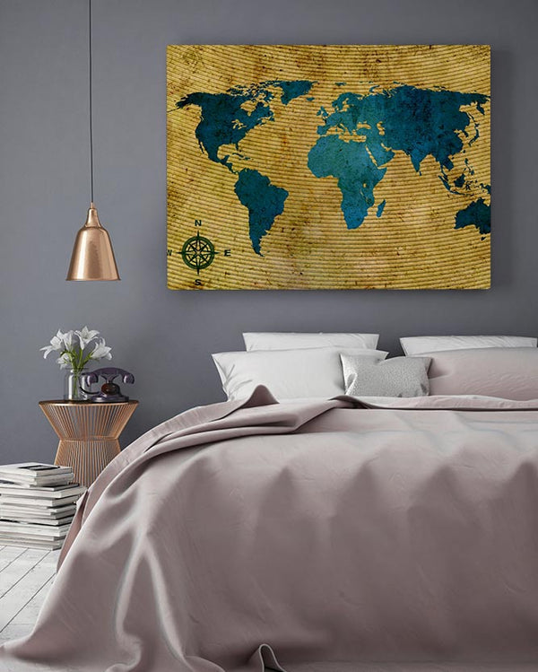 Teal World Map Canvas Art