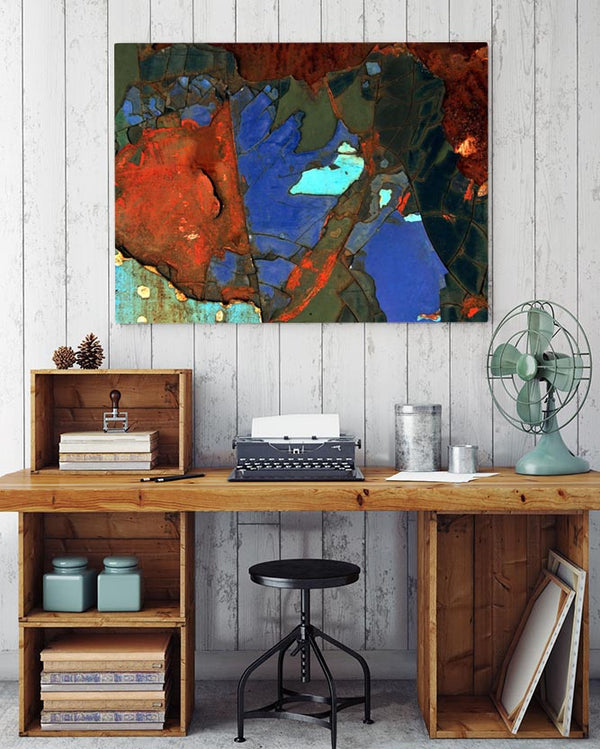 Modern Colorful Rust Texture Canvas Art