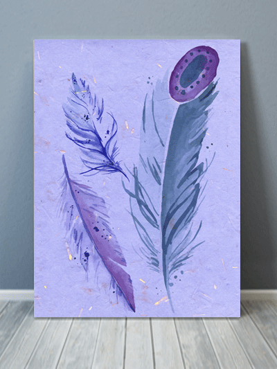 Watercolor Feather Canvas Art