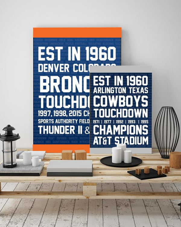 NFL Football Canvas Art - Typography Canvas Art