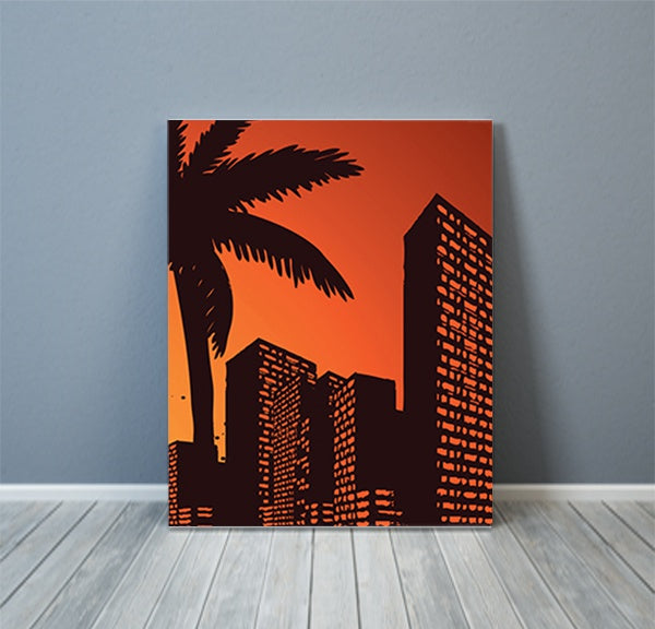 Retro Urban City Building Canvas Art