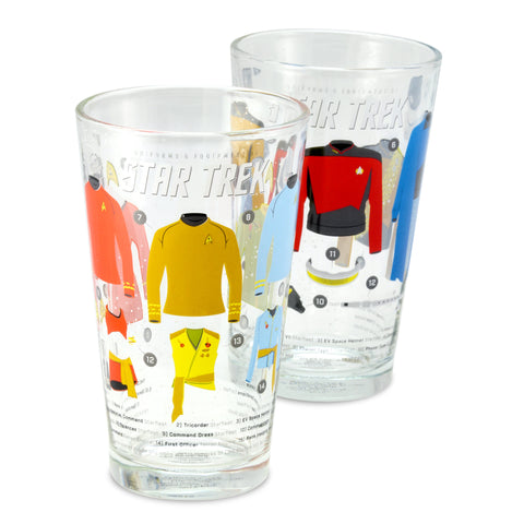 Uniforms & Equipment of Star Trek Pint Glasses - Set of Two