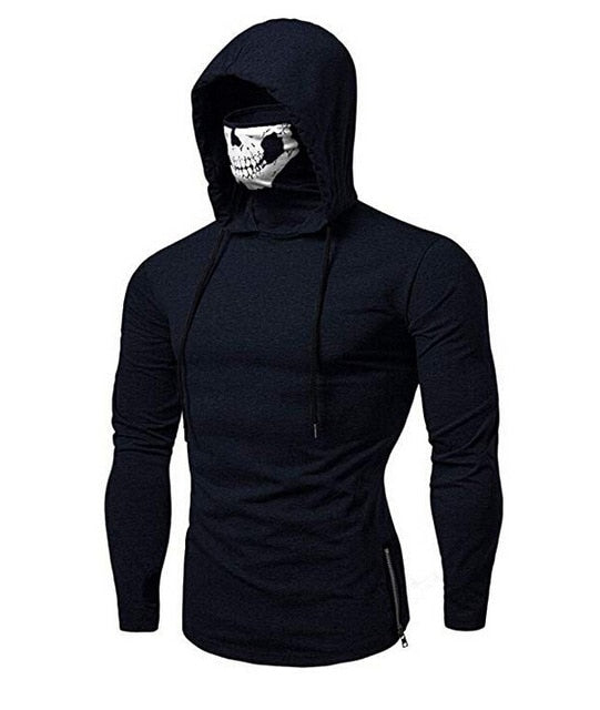 Mens Gym Hoodie Long Sleeve Sweatshirt Hoodies With skull Mask