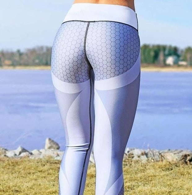 Workout Fashion Leggings Digital Print Ice and Snow