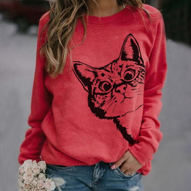 Cat Print Full Sleeve Streetwear