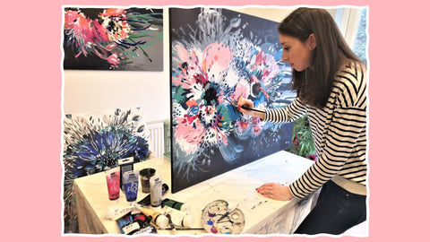 Artist Painting Abstract Flowers Floral Hibiscus Colourful Studio Judy Century Art