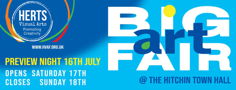 Herts Visual Arts Big Art Fair at Hitchin Town hall banner with July 2021 dates Judy Century attending