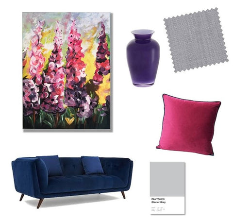 Mood board for Judy Century Art commissions showing colourful finished flower landscape painting next to themed room accessories and colour matches used as inspiration