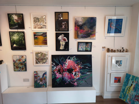 Art Gallery internal view with Judy Century Flower Power painting on display