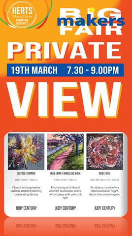 Invitation to Private View virtual art event featuring Judy Century Abstract paintings