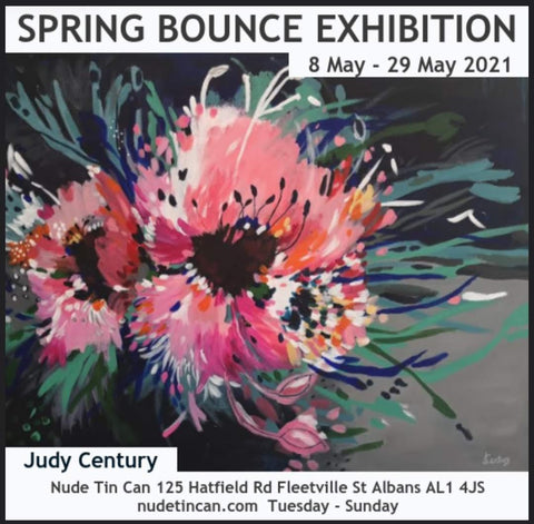 Large Abstract Floral Painting by Judy Century advertised as part of Gallery exhibition at Nude Tin Can Art Gallery in St Albans during May 2021