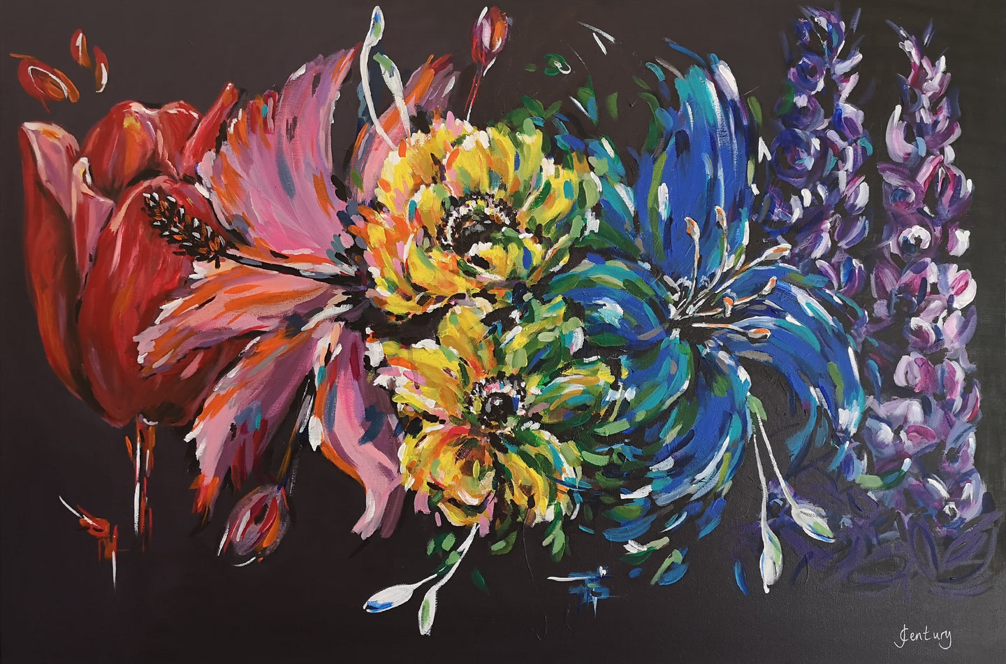 Rainbow flower painting on contrasting black background by Judy Century Art. Vibrant, colourful acrylics painting.
