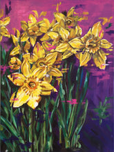 Load image into Gallery viewer, Contemporary vibrant daffodil painting by Judy Century Art. Semi Abstract painting featuring colourful yellow, purples and pinks