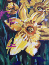 Load image into Gallery viewer, Close up details of colourful, modern daffodil flower painting by Judy Century Art