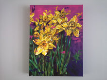 Load image into Gallery viewer, Contemporary vibrant daffodil painting by Judy Century Art. Semi Abstract painting featuring colourful yellow, purples and pinks. Canvas painting hanging on grey wall