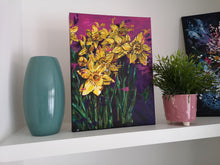 Load image into Gallery viewer, Contemporary vibrant daffodil painting by Judy Century Art. Interior Décor inspiration for shelves and gallery walls. Semi Abstract painting featuring colourful yellow, purples and pinks