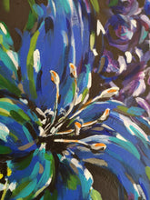 Load image into Gallery viewer, Close up of Carnival painting by Judy Century Art showing blue abstract Lilly section