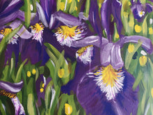 Load image into Gallery viewer, Details, close up, brush strokes, floral, flowers Acrylic Painting Iris Field Landscape, abstract art, purple, green, yellow, white paint, judy century, original art print