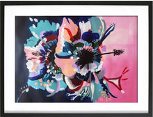Load image into Gallery viewer, Art print in black frame of Original Acrylic abstract painting on Art paper by Judy Century. Hibiscus Sorbet features a graphic bold design in pink, navy, peach, teal and white.