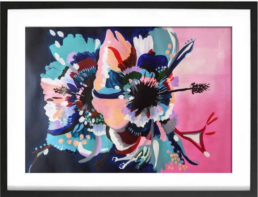 Art print in black frame of Original Acrylic abstract painting on Art paper by Judy Century. Hibiscus Sorbet features a graphic bold design in pink, navy, peach, teal and white.
