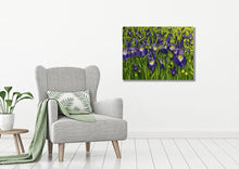 Load image into Gallery viewer, Large Acrylic Painting Iris Field Landscape, abstract art, in situ, grey armchair, plant, leaf cushion, purple, green, yellow, white paint, judy century, original canvas painting, deep edge
