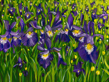Load image into Gallery viewer, Large Acrylic Painting Iris Field Landscape, floral, flowers, colourful, interior decor, abstract art, purple, green, yellow, white paint, judy century, original canvas painting, deep edge