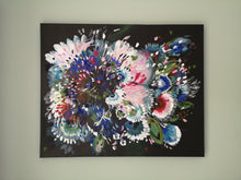 Load image into Gallery viewer, Enchanting Original Abstract painting inspired by flowers blooming. This painting is called Floral Night Garden 1 and is bright and colourful on a dark background to create contrast. By Judy Century Art on Canvas.