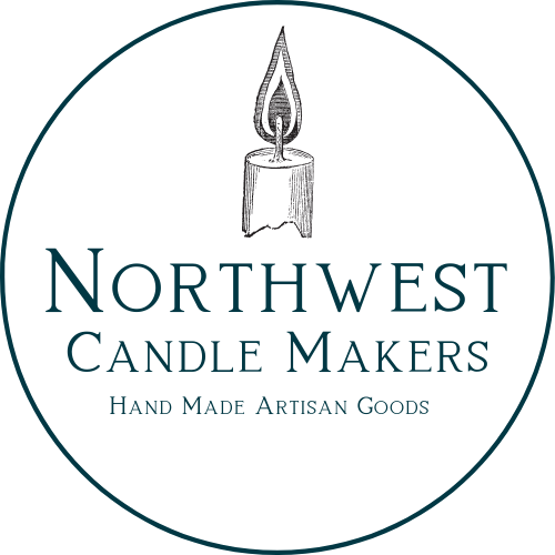 Northwest Candle Makers logo - A candle stick above the words Northwest Candle Makers. Below are the words hand made artisan goods. All of this sits inside a circle.
