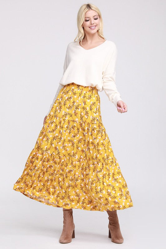 Sweet Pea Floral Maxi Skirt