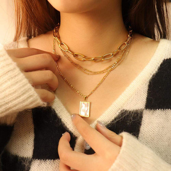 Shell Rectangle Locket Necklace
