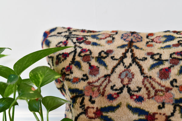 "Vintage Persian Rug Pillow Cover, 12""x12"""