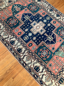 "Vintage Turkish Tribal Rug 4'3""x6'7"""