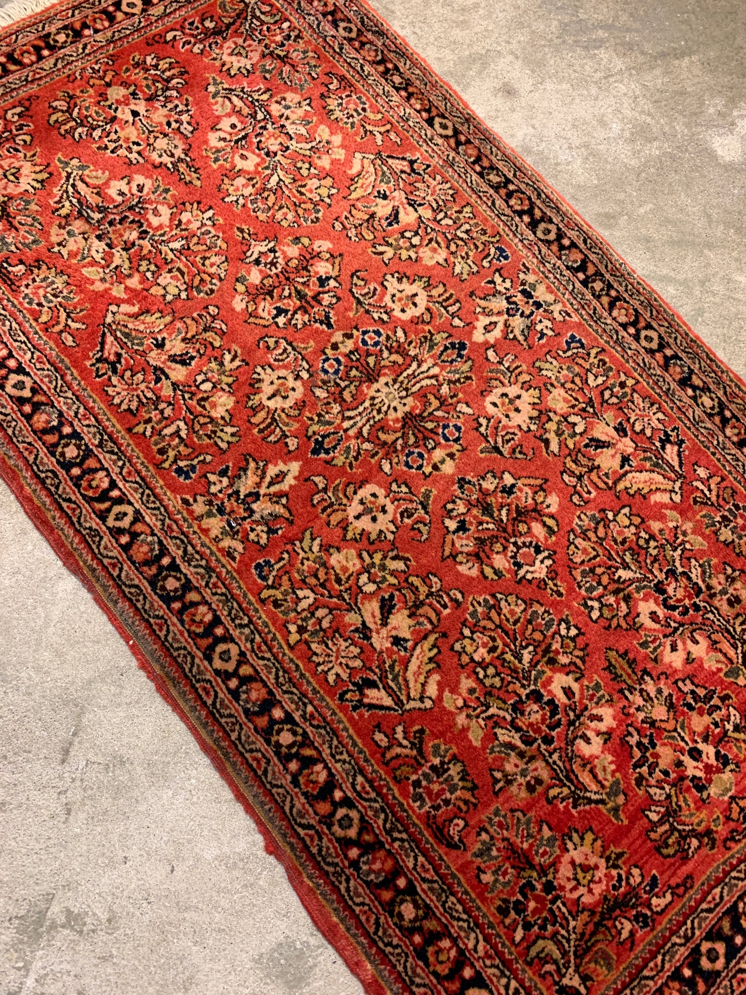 "Antique Persian Mini Rug, 2'0""x4'0"""