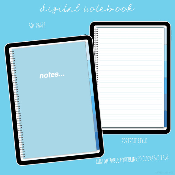 Digital Notebook - Sky Blue