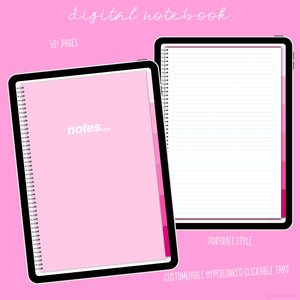 Digital Notebook - Pretty Pink